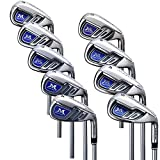 Mazel Golf Iron Set Golf Club Iron para Hombres De Una Sola Longitud 37.5 Pulgadas, Paquete De La Mano Derecha con 9 Piezas (Acero Inoxidable, Flex rígida)