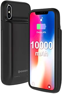 NEWDERY Battery Case for iPhone X Xs, 10000mAh Rechargeable External Charging Charger Case Compatible iPhone X Xs 10 (5.8 Inches Black) - Extended 300% Battery Life