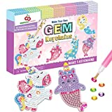 ORIENTAL CHERRY Arts and Crafts for Kids Ages 8-12 - Make Your Own GEM Keychains - 5D Diamond Painting by Numbers Art Kits for Girls Kids Toddler Ages