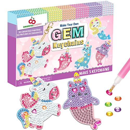 ORIENTAL CHERRY Arts and Crafts for Kids Ages 8-12 - Make Your Own GEM Keychains - 5D Diamond Painting by Numbers Art Kits for Girls Kids Toddler Ages 3-5 4-6 6-8