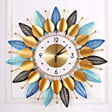 "KINBEDY Luxury Crystal Bohemian Style Metal Modern Wall Clock with Silent Movement 9.5"" Dial Large Sunburst Big Fancy Decorative Clock for Living Room, Bedroom, Office Space. (Mixed Leaves)"