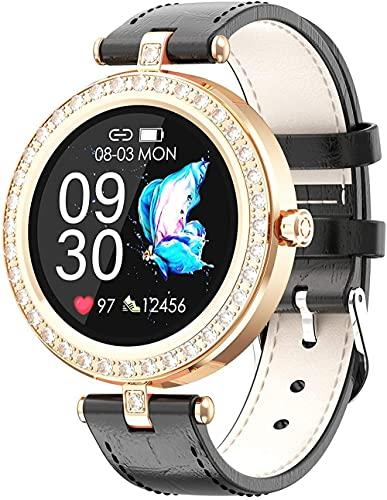DHTOMC Damen Smartwatch Touchscreen Fitness Tracker Schlafüberwachung Informationen Erinnerung - Schwarz