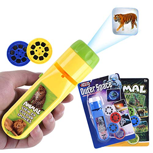 Yeelan Diaprojektor Taschenlampe Projektionslicht Kleine Lampe Pädagogisches Lernen Schlafenszeit Nachtlicht für Kinde, Säuglinge, Kleinkinder, Kinder ((48 Bilder, 2er-Set, Raum + Tier))