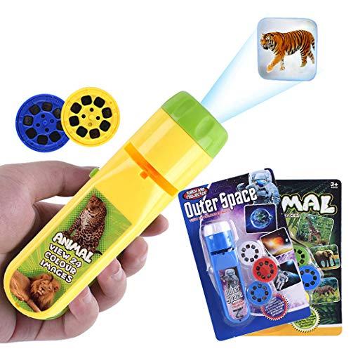 Yeelan Proyector de diapositivas Antorcha Luz de proyección Antorchas pequeñas Lámpara Linterna Hora de acostarse Luz nocturna para niños, bebés, pequeños (48 imágenes, 2 juegos, Espacio + Animal)
