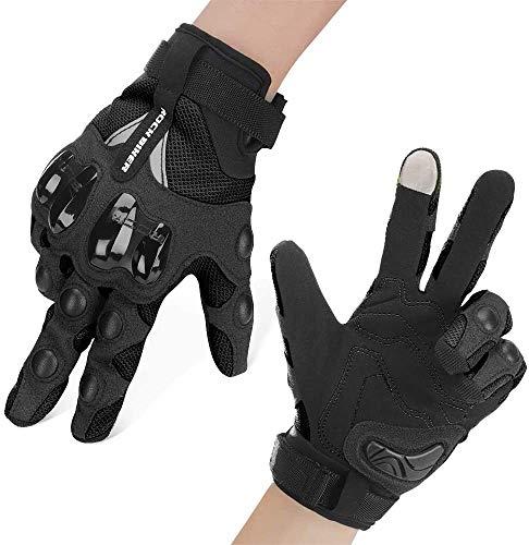 Motorrad Handschuhe Sommer Sport Handschuhe Touchscreen Handschuhe Warm Atmungsaktiv Anti RutschFahrad Handschuhe Sommerhandschuhen Ideal für Motorrad Radfahren Camping Outdoor Schwarz M