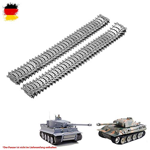 Original Metallketten von Heng Long, Upgrade Kit für u. a. German Tiger I und German Panther RC Panzer 3818, 3818-1, 3819, 3819-1, Ersatz-Ketten, Tank, RC Modellbau, Kettenfahrzeug, Ersatzteil