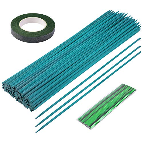 Elcoho 120 Pieces 15 inches Bamboo Sticks Garden Plant Support Stakes Wood Plant Stakes Wooden Sign Sticks with Floral Tape and Twist Ties for Plants, Flower, Garden, Green