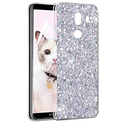 OKZone Cover Huawei Mate 10 PRO, Custodia Lucciante con Brillantini Glitters Ultra Sottile Design Case Cover di Alta qualità in Silicone TPU Bumper Protezione Cover per Huawei Mate 10 PRO (Argento)