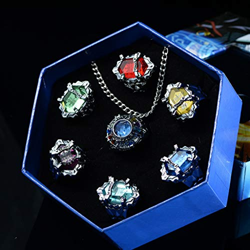 LAOLEE 7 Pcs/Set Katekyo Hitman Reborn Vongola Alloy Rings,Anime Cosplay Fashion Jewelry,Personalised Finger Ring Gift for Couple Man Women Girls