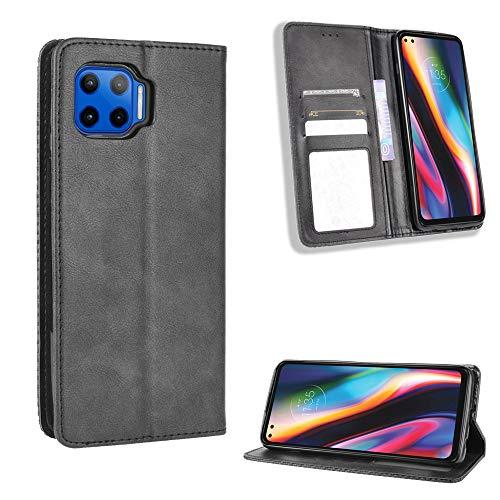Lederhülle für Motorola Moto G 5G Plus Hülle, Flip Hülle Schutzhülle Handy mit Kartenfach Stand & Magnet Funktion als Brieftasche, Tasche Cover Etui Handyhülle für Motorola Moto G 5G Plus, Schwarz