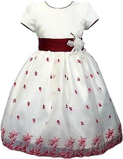 子供ドレス 発表会 パニエ内蔵ドレス オフホワイト ローズの刺繍 d-0004 dreamkikaku