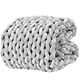YnM Velvet Knitted Weighted Blanket, Hand Made Chunky Knit Weighted Throw for Sleep, Stress or Home Décor, Rest and Relax in Style with YnM's Handmade Weighted Blankets (Light Grey, 50''x60'' 10lbs)