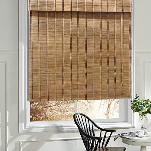 LANTIME Wood Window Roman Shades, Lined Blackout BambooRoman Shades Blinds, Easy Installation for Home and Garden, Pattern 1