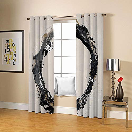 QHDIK Blackout Curtains Eyelet Thermal Insulated Draperies Room Darkening Super Soft ink Patterns Printed Curtains for Living Room Bedroom Kids Room 2 Panels W46 x H72 inch