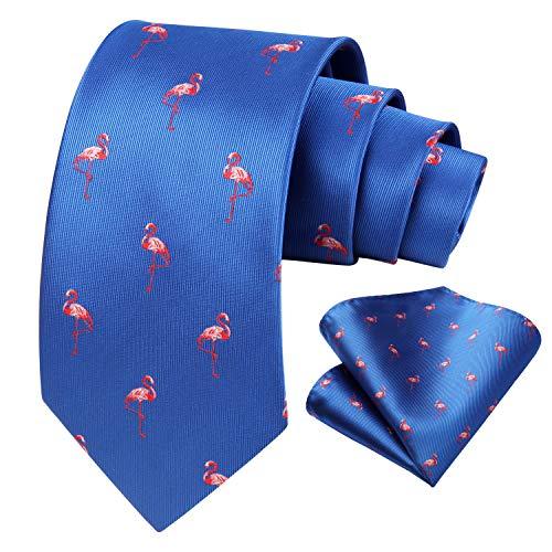 HISDERN Red-Crowned Crane Hochzeitsgesellschaft Krawatte Taschentuch Manner Krawatte & Einstecktuch Set