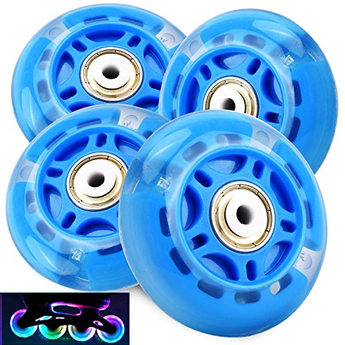 TOBWOLF 4PCS Light Up Inline Skate Wheels, 70mm LED Flash Flashing Replacement Wheel with ABEC-7 Bearings for Kids & Teens