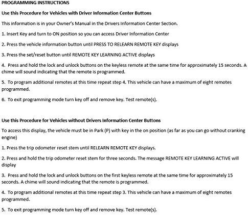 Car & Vehicle Electronics Car Key Fob Keyless Entry Remote fits ...