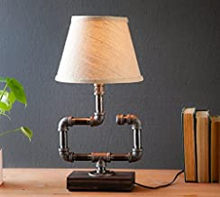 Shaded Industrial Steampunk table pipe lamp with Radio Edison bulb and Weathered wood base