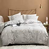 Argstar 3 Pcs King Duvet Covers Set, Branch and Plum Printed Pattern Bed Sets, Cream Floral Comforter Cover with Zipper Ties, Ultra Soft Lightweight Microfiber, 1 Duvet Cover and 2 Pillow Shams