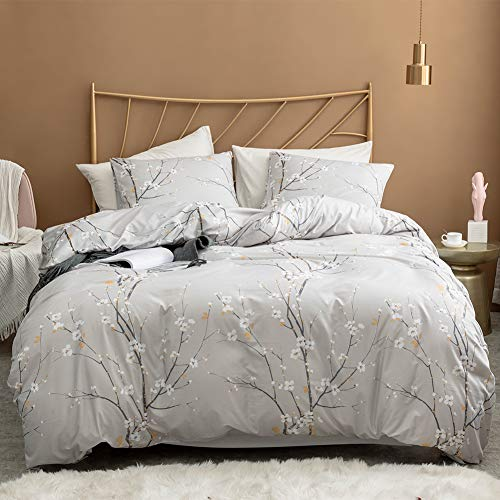 Argstar 3 Pcs Queen Duvet Covers Set, Branch and Plum Printed Pattern Bed Sets, Cream Floral Comforter Cover with Zipper Ties, Ultra Soft Lightweight Microfiber, 1 Duvet Cover and 2 Pillow Shams