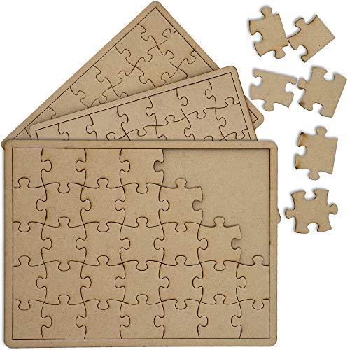 Bright Creations Blanko Puzzle (Set, 3 Stück) - Aus Unbehandeltem Holz, Mit Legerahmen, Zum Selbst Gestalten - Je 35 Puzzleteile - Braun, 27,4 cm x 19,7 cm x 0,6 cm