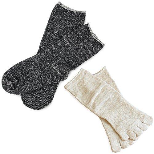 丸中hiorie(ヒオリエ)『冷えとり靴下内絹外綿2足セット<Mサイズ>』