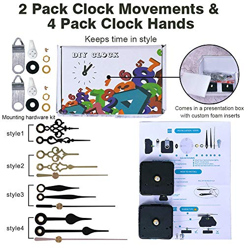 EMOON 2 Pack High Torque Clock Movement Mechanism with 4 Pairs of Short Hands Battery Operated Quartz Clock Motor Kit DIY Repair Parts Replacement, 7/8 Inch Total Shaft Length