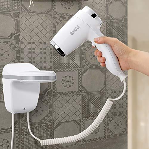 Bakaji Asciugacapelli da Parete Muro Phon Asciuga Capelli Bagno Potenza 1100W Velocità Selezionabile Colore Bianco per Casa Hotel (3 Velocità)