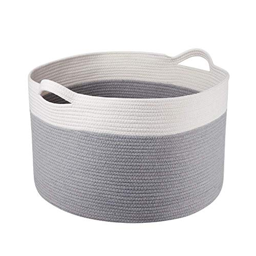 Syeeiex Large Storage Basket for Toy, Big Organizer Basket for Blanket Storage, Cotton Rope Storage Bins for Kids and Pets in Living Room, Lounge and Children Room, Grey,1 Pack