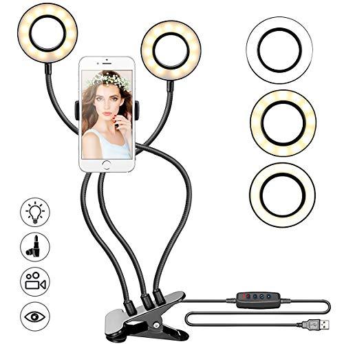Powcan Selfie Ringlicht mit Handy-Halter Stehen für Live Stream Make-up, 3-Licht-Modus, 10-Level Helligkeit LED Schreibtischlampe, Faule Halterung Lange Arme Handy Clip Halter für iPhone/Android (2)