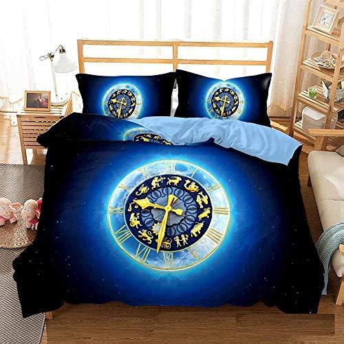 Bedclothes-Blanket Juego de sabanas Cama 150,Cama 3D Single Ropa de Cama Edredón Set Reloj de Tres piezas-135 * 210_11