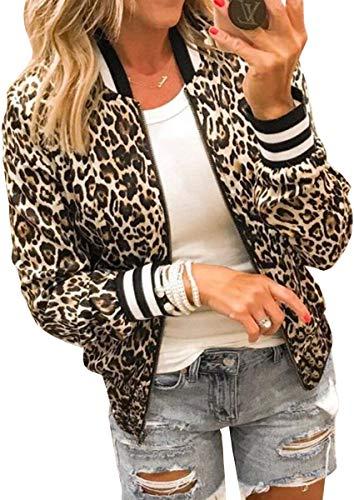 Spec4Y Damen Jacke Casual Bomberjacke Langarm Bikerjacke Rundhalsausschnitt Leopardenmuster Reißverschluss Outwear Herbst Frühling 337Khaki Small
