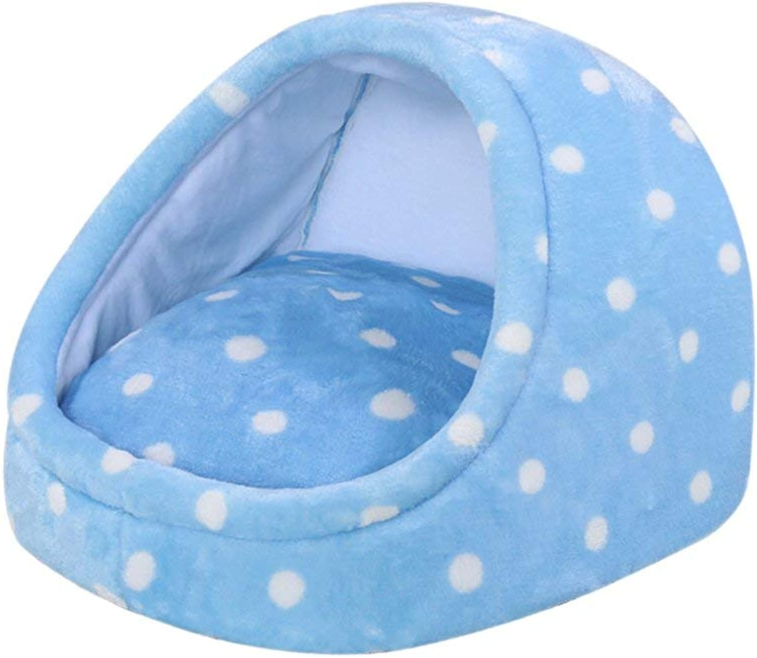 Cat and Dog Pet Nest, Suitable for Small and Medium Pets, SemiClosed Pet Nest, Teddy golden Mao Samoyed Universal Pet Bed (color   bluee, Size   46  46  35CM)