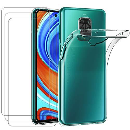 iVoler Custodia Cover per Xiaomi Redmi Note 9S / Redmi Note 9 PRO + 3 Pezzi Pellicola Protettiva in Vetro Temperato, Ultra Sottile Morbido TPU Trasparente Silicone Antiurto Protettiva Case Cover
