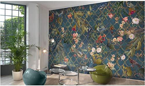 Fototapete 3D Effekt Amerikanische Handgemalten Fresken Von Blumen Und Vögel Tapete Vliestapete Wandbilder Wanddeko