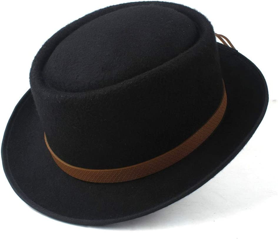 HXGAZXJQ Hxgang New Pork Pie Hat for Women Men Wool Fedora Hat Porkpie Church Fascinator Hat Flat Cap Hat Size 58CM (Color : Black, Size : 58)