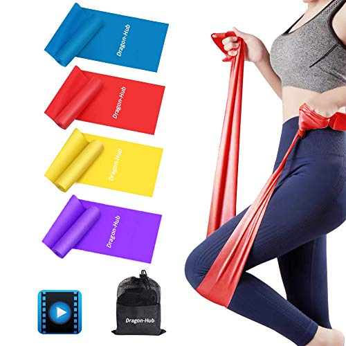 Dragon-Hub Resistance Bands, Exercise Bands for Physical Therapy, Yoga, Pilates, Rehab and Home Workout, Non-Latex Resistance Bands Set of 4