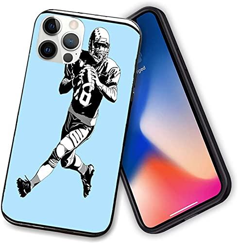 Custodia compatibile con iPhone 12 serie, American Football League gioco Rugby Player Run originale Retro, sottile morbido TPU per iPhone 12 – 6,1 pollici