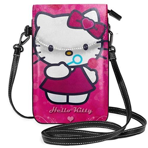 Bolsos cruzados para mujer - rojo Hello Kitty pequeño teléfono celular monedero con ranuras para tarjetas de crédito