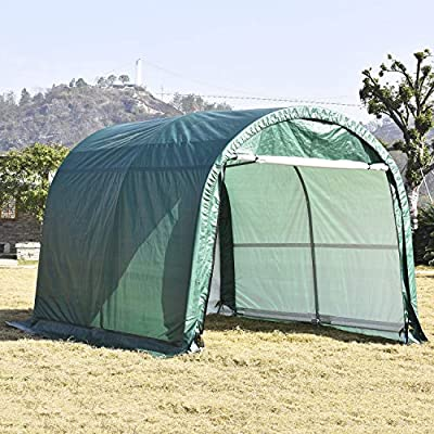 wonline Carport Auto Shelter 10x10x8ft Portable Outdoor Car Garage Storage Shed Canopy for Cars Green Round Top Style