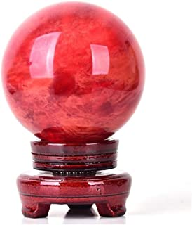 Healing Crystal Sphere Natural Red Crystal Sphere, Rare Red Power Stone Ball for Crystal Healing, Meditation, Scrying, Fen...