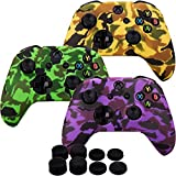 MXRC Silicone Rubber Cover Skin case Anti-Slip Water Transfer Customize Camouflage for Xbox One/S/X Controller x 3(Orange & Green & Purple) + FPS PRO Extra Height Thumb Grips x 8
