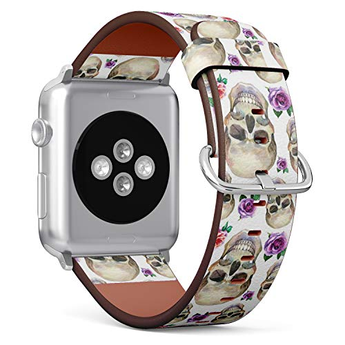 Compatible with Small Apple Watch 38mm & 40mm (All Series) Leather Watch Wrist Band Strap Bracelet with Stainless Steel Clasp and Adapters (Watercolor Tattoo Concept Skull)