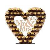 Mr & Mme Ferrero Rocher Coeur Présentoir Centre de Table pour Parties, Décorations De Table En Bois Chocolat Présentoir De...