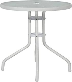 Soges 23.6 inches Patio Table Outdoor Glass Table Bistro Table Outdoor Dining Table Outdoor Furniture Tempered Glass with Umbrella Hole, White, RG-D-290-CT60