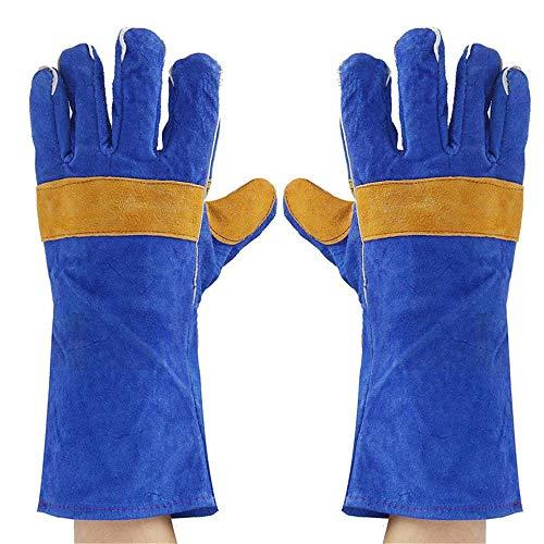 NOBGP 2 paar lederen lashandschoenen, hittebestendig met beschermende katoenen armwear met elastische manchetten voor Oven, Grill, Mig, Open haard, Kachel, Pot Houder, Tig Welder