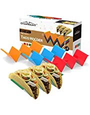 CHARMOUNT Taco Holder Stand Set of 4 Taco Rack Holders - Premium Taco Shell Holder Stand on Table with Handle, Hold 2 or 3 Hard or Soft Shell Tacos, Dishwasher & Microwave Safe