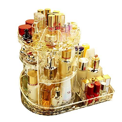 Make-up Box Make-up Fall 360 ° Rotation Laminate können eingestellt werden Diamant Textur Mode Atmosphäre stark und robust große Kapazität Geschenk für Freundin ( Color : CLEAR , Size : 33*21.7*29CM )