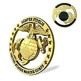 U.S. Marine Corps Car Auto Emblem Semper Fidelis Metal Decal Sticker Military Veteran Gift