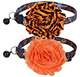 BoomBone 2 Pack cat Collar Halloween,Breakaway Small Dog Collars with Bell and Flower Charm
